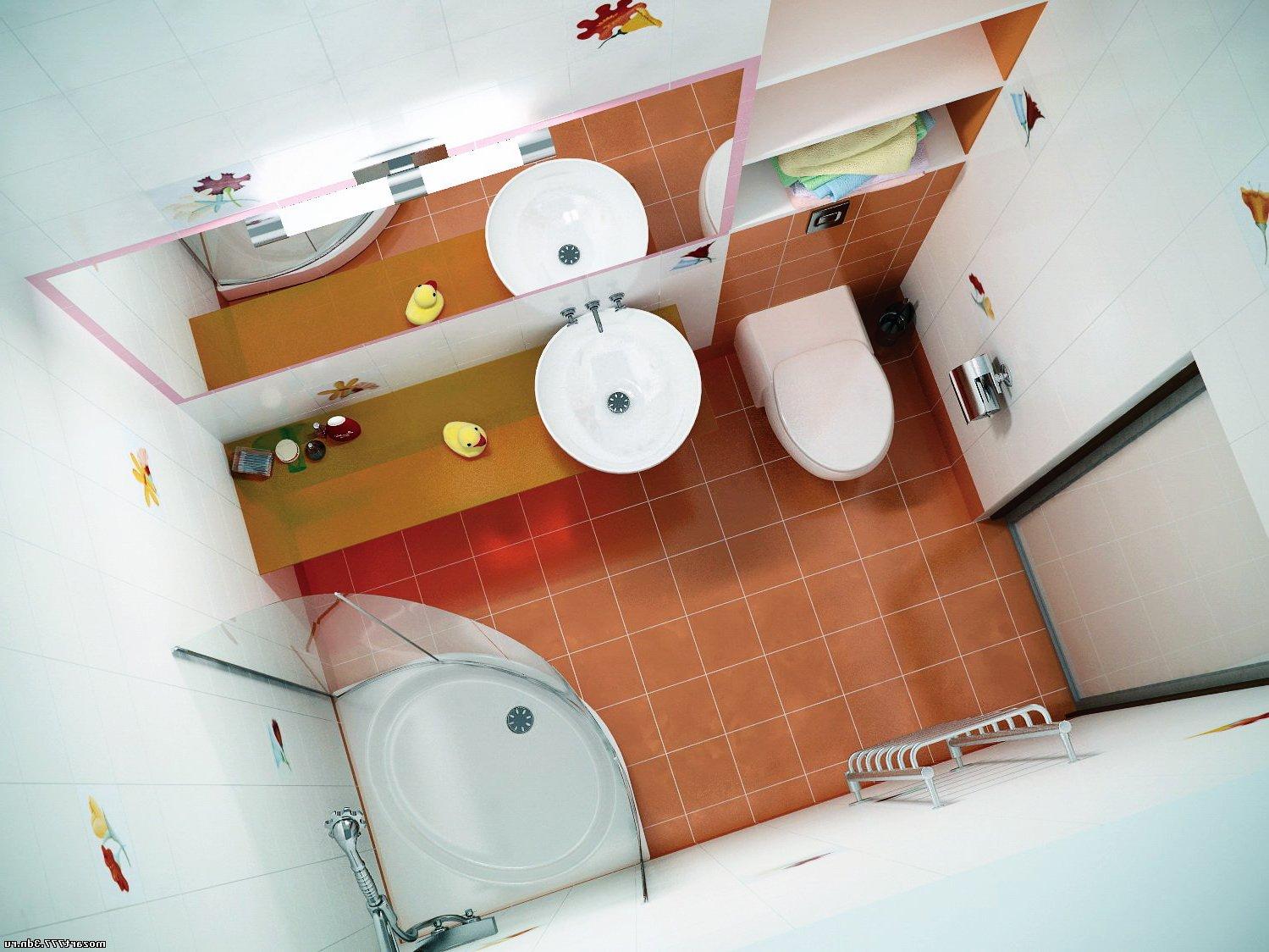 Narrow bathroom layout